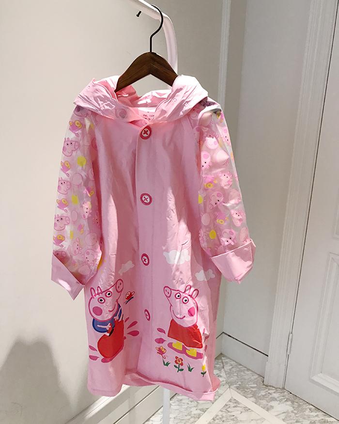 粉红猪小妹儿童卡通加厚带书包雨衣小猪佩奇女童宝宝学生雨衣雨披