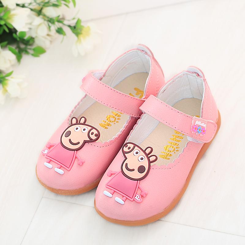 女童单鞋春秋小猪佩奇韩版公主鞋软底皮鞋平底防滑女孩鞋儿童单鞋