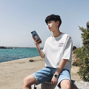 實拍3663#2018夏季新款韓版港仔男裝寬松純棉T恤短五分袖t恤控45