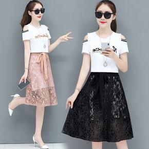 两件套裙子潮气质连衣裙套装女2019夏季新款流行显瘦露肩洋气减龄