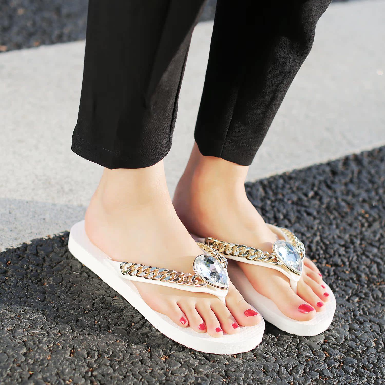 白色35小p良品鋪 平底人字拖時尚金屬鏈條水鉆裝飾夾趾女士涼拖鞋女