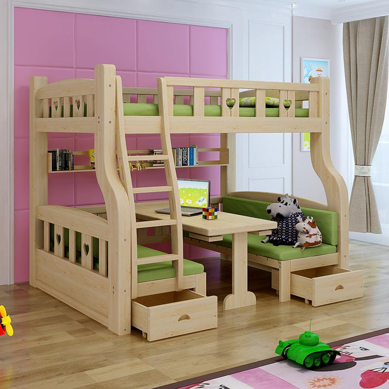 木造で起き子供用ベッド母子露店母ベッドを持ってベッドの下の高低ベッド機を組み合わせてベッドの二段ベッド