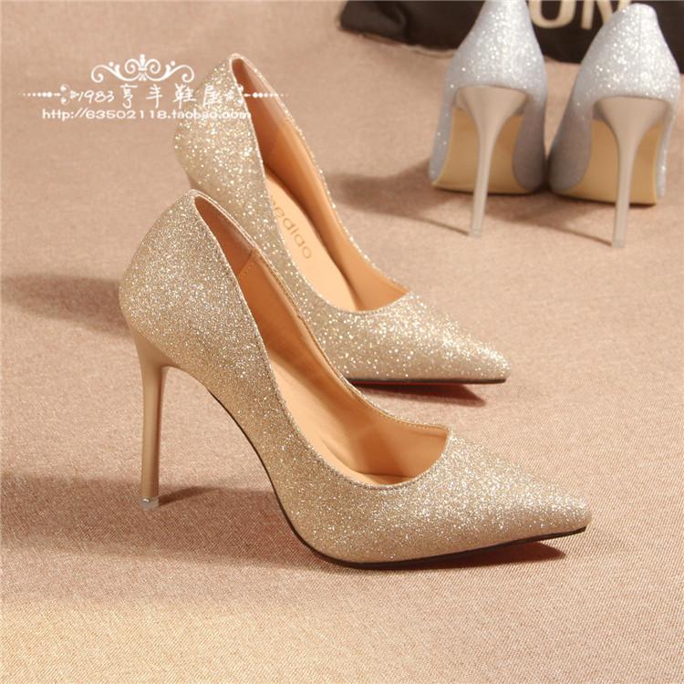 17千颂伊同款水晶鞋金色婚鞋新娘银色高跟鞋细跟尖头亮片单鞋女鞋