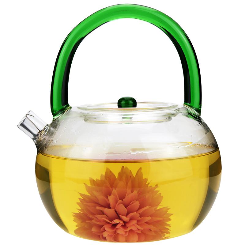 【綠色把手】燒水壺明火加熱加厚耐熱玻璃茶壺提梁壺 電陶爐專用煮茶壺玻璃燒水壺