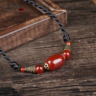 民族风装饰链衣服配饰百搭森系红玛瑙项链女锁骨链简约大方脖颈链