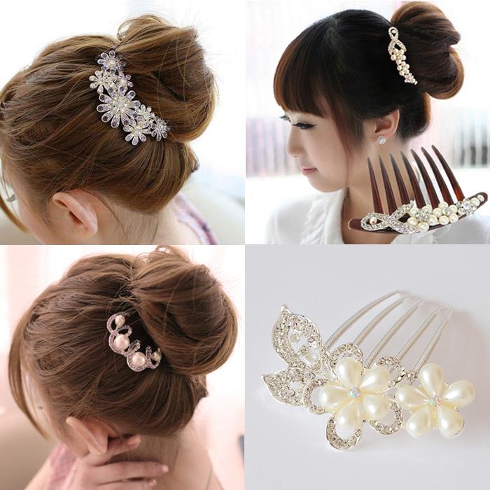 カチューシャヘアピン星花嫁髪型花嫁流行美を挟みながら髪盘发気質優雅を挟んで日韓