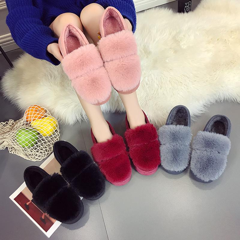 2017新款女鞋一脚蹬懒人鞋冬季毛毛豆豆鞋女加绒加厚平底瓢鞋韩版
