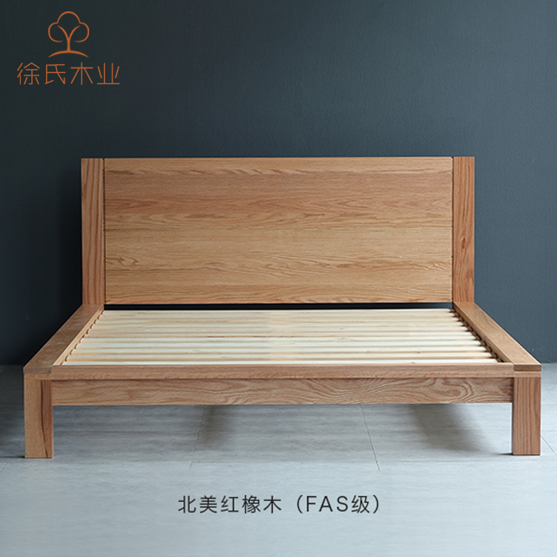 North American black walnut wood imported solid wood bed Nordic modern minimalist Japanese oak bed 1.51.8 meters double bed
