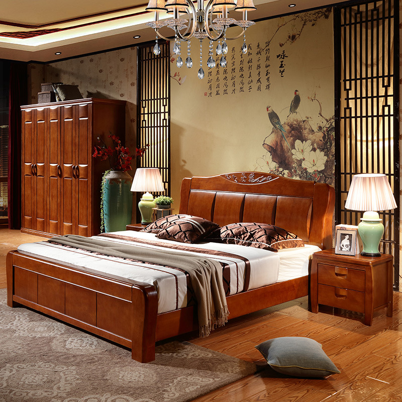Bed master bedroom doubles 1.8 meters, modern minimalist solid wood bed, white wedding bed, 1.5 meter oak bed, pneumatic bed storage bed
