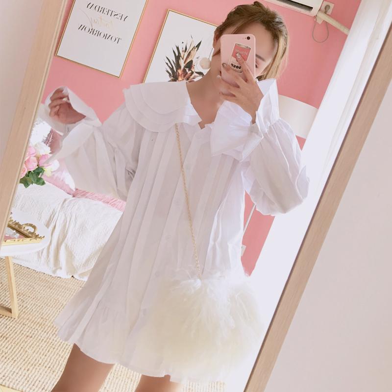 秋冬新款韩版甜美可爱娃娃领荷叶边喇叭袖中长款衬衫连衣裙打底裙