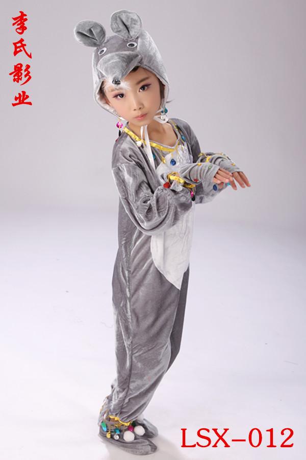 灰色80cm六一新款中性幼兒小老鼠演出服成人兒童動物表演服小灰鼠裙裝紗裙