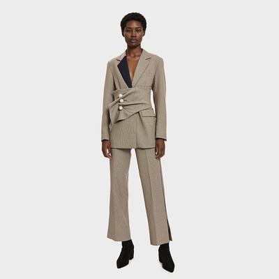 复古细格纹 黑丝缎镶边 侧开衩裤脚 直筒西服长裤原单