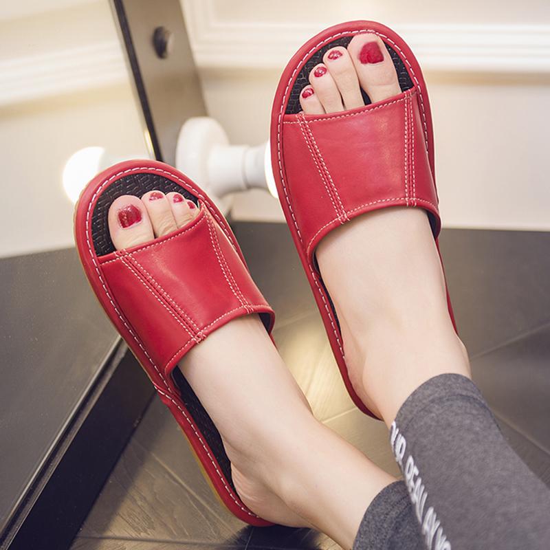 居家夏季防滑羊皮拖鞋室内家居木地板凉拖鞋男女真皮家用夏天拖鞋