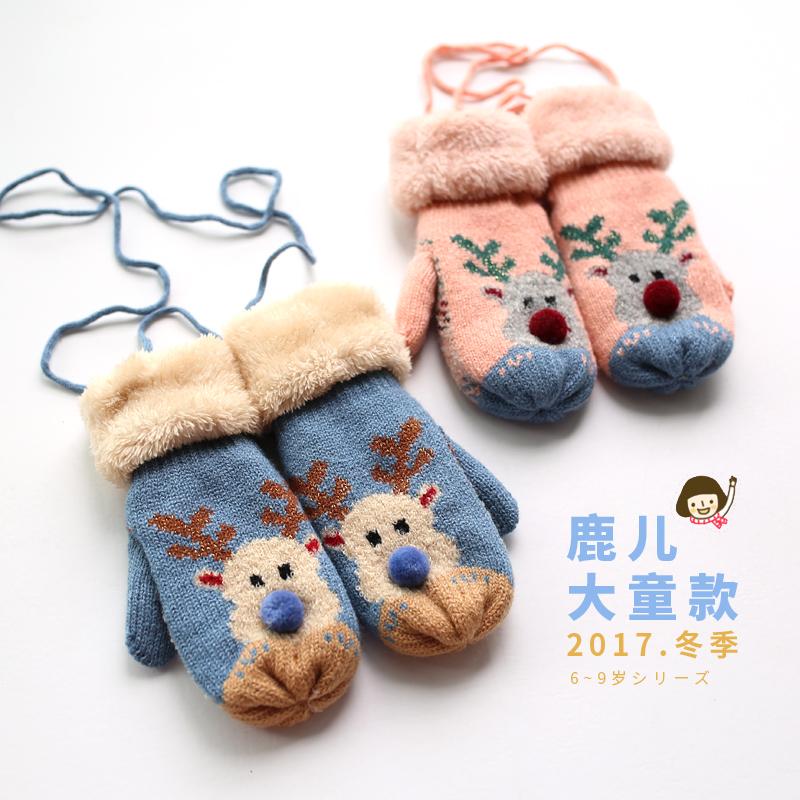 5~9岁儿童毛线手套女童冬季可爱圣诞节礼物小鹿盛琦连指手套亲子