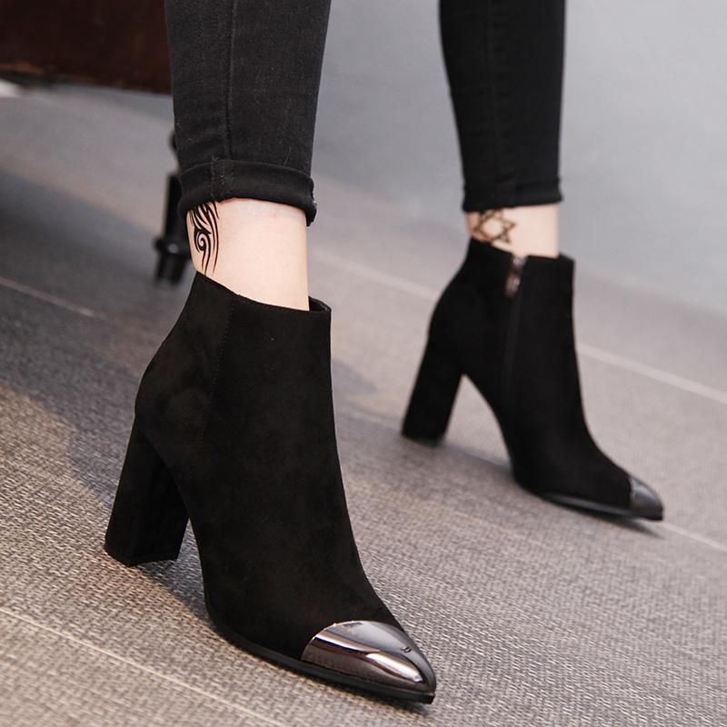 L'Europe et les États - Unis de chaussures en bottines femme de pointe de métal brut à mode unique de grandes bottes à talons hauts nu van Martin de bottes