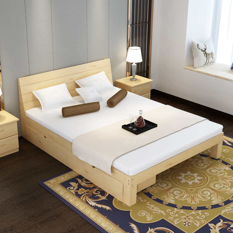 包郵材のペアのシングルベッド1.51.8松木木の質にメートル簡易寮裏店ベッド