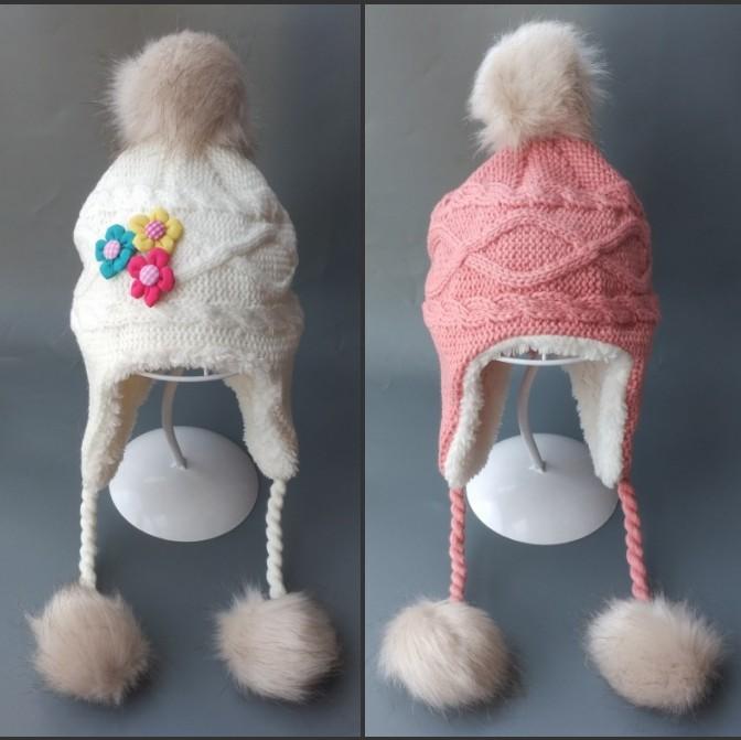 男女童宝宝帽子秋冬婴儿帽子6-12个月12岁儿童护耳保暖加绒毛线帽