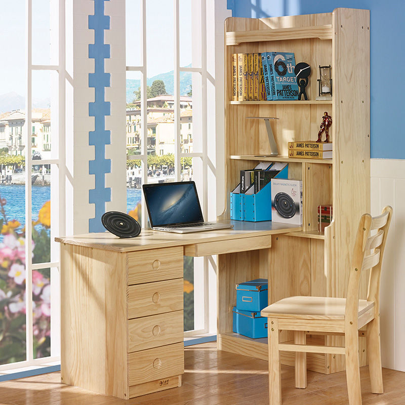 Six wooden workshop table full wood desk bookshelf combination bookcase corner computer table field desk special price