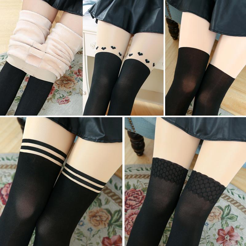 加絨加厚保暖褲 假高筒假長筒保暖褲女秋鼕款拼接假大腿打底褲