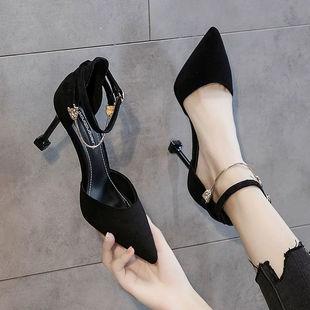 鞋子女黑色高跟鞋女细跟尖头中跟