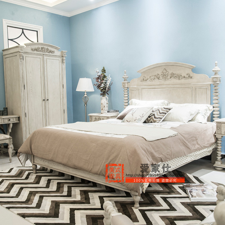 What makes the modern American double 1.8 m bed new classical white wedding bed Mediterranean wood carved bed