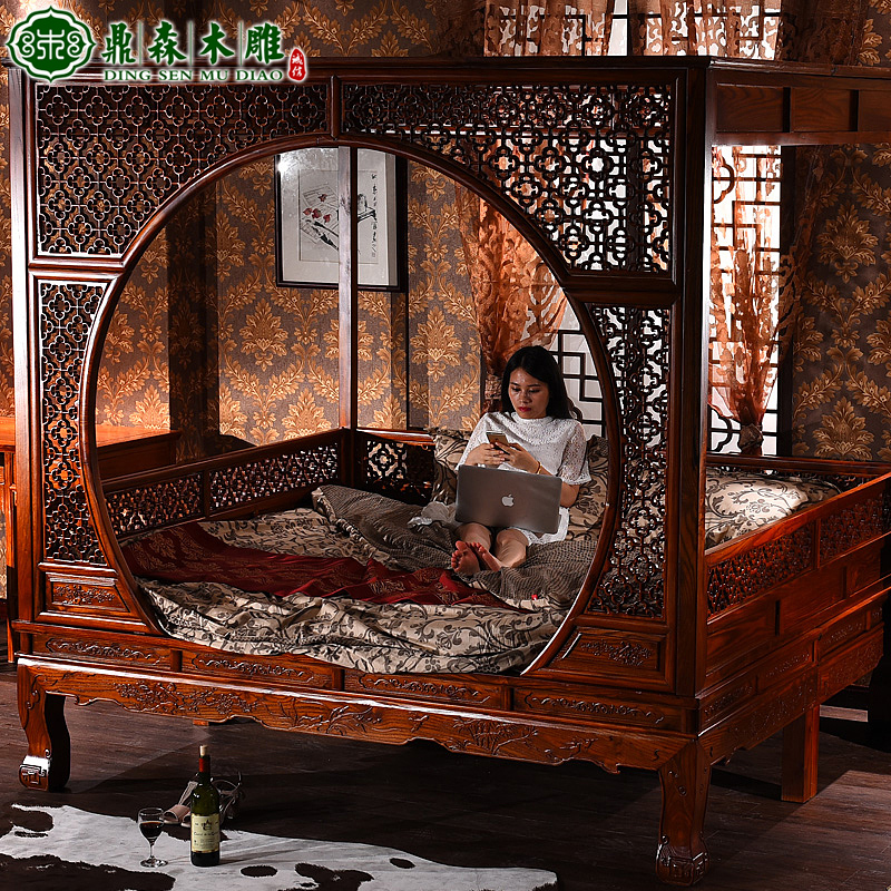 Chinese style bed wood bed bed bed bed bed hotel moon elm shelf bed wedding bed antique furniture 1.8