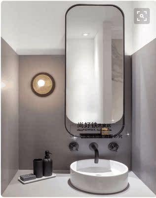 复古铁艺卫生间镜子壁挂镜长方镜卫浴镜洗手间镜子厕所浴室镜