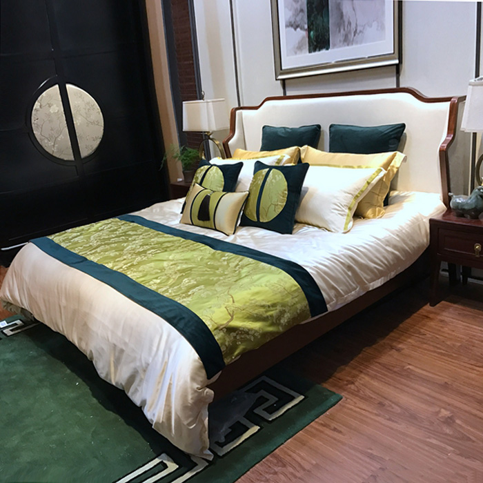 New Chinese style solid wood bed, modern Chinese style 1.8 meter bed villa, bedroom, simple double bed Hotel Furniture Customization