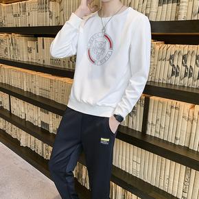 长袖T恤男秋季薄款男士休闲套装韩版潮流长袖衣服