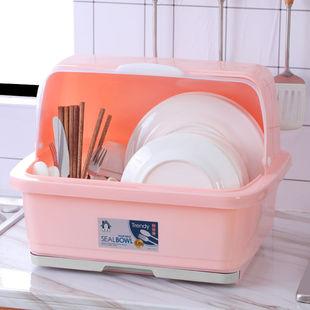厨房碗柜塑料大号带盖沥水架放碗架置物架装碗箱碗碟架碗筷收纳盒