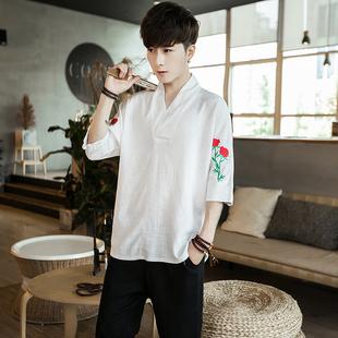 夏季薄款中国风亚麻短袖t恤男v领五分袖上衣社会小伙宽松半袖体恤
