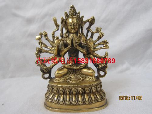 古玩城密宗藏傳精工純銅千手觀音準提佛母菩薩佛像擺件小號可裝藏
