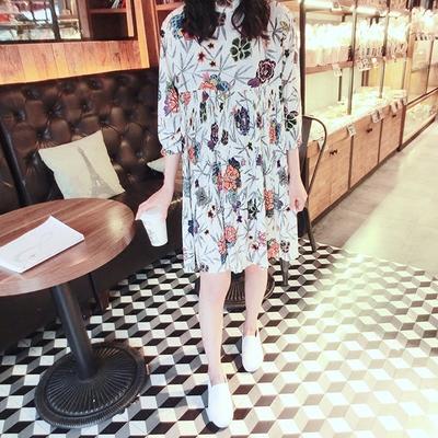 慕穗 2017韩版春装女装新款七分袖宽松小清新碎花雪纺百褶连衣裙