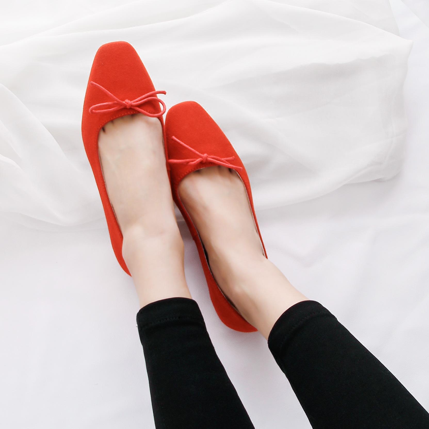 灰色35小p良品鋪 新款淺口方頭單鞋時尚反絨平底蝴蝶結休閑女鞋35-40