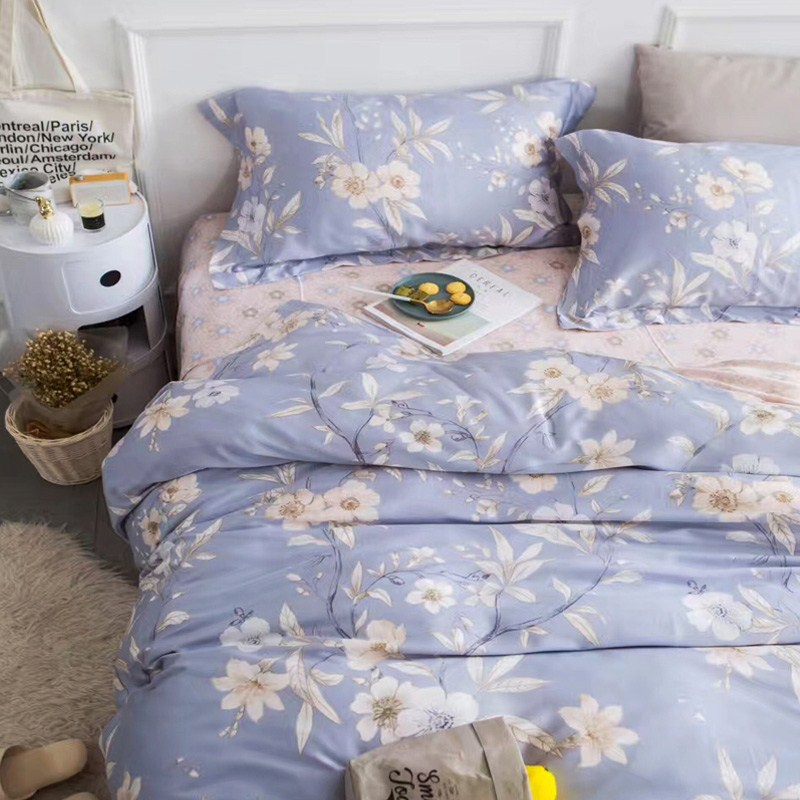 American pastoral style double four piece silky Tencel feather bedding in summer 1.8 meters naked lyocel