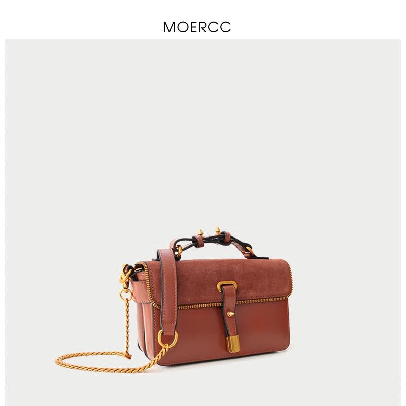 黑色moercc鏈條小包包休閑單肩包迷你時尚女包牛皮小方包潮流斜挎包