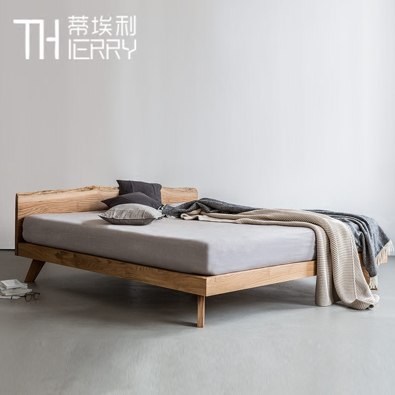 The pure solid wooden antique minimalist modern retro 1.5 m 1.8 bedroom luxury double oak bed
