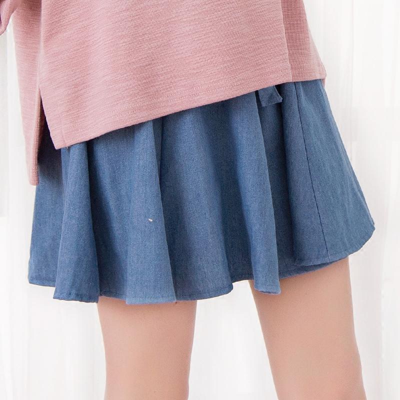 Váy/Thắt lưng/Quần/Váy chữ A nữ họa tiết hình nơ dáng xòe chất liệu bò phong cách Hàn Quốc dễ kết hợp phong cách học sinh phù hợp cho mùa xuân