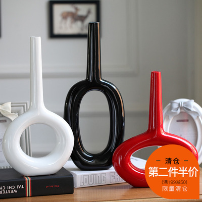 现代家饰 新房摆件 婚房摆设 工艺礼品 陶瓷花瓶 装饰品 园形花插