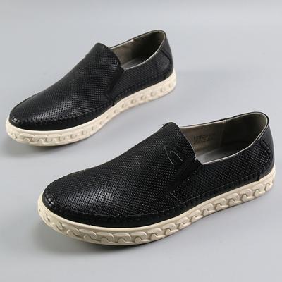 检漏款德家真皮男士套脚百搭小黑鞋断码亏本清仓男士休闲板鞋皮鞋