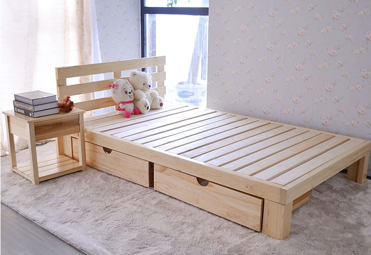 Special offer to promote the single bed bed around the pine wood bed bed single bed double bed children widened 0.8-1.8