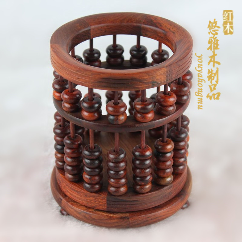 普通算盤筆筒紅木工藝品禮品筆筒酸枝算盤筆筒木雕擺件辦公筆筒商務禮品特價