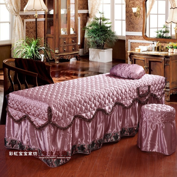 Imitation silk lace beauty body bedspread, European style new cotton massage shampoo bed four sets of custom-made manufacturers batch