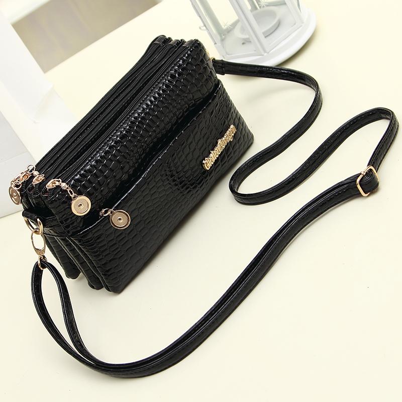 韩版多层女式小包做生意收钱包单肩斜挎包中年妈妈包黑色零钱包