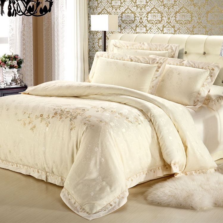 European luxury 60 Cotton Satin Jacquard Tencel four piece embroidery wedding bed 46 pieces