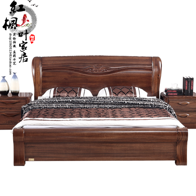 New gold black walnut furniture, all solid wood bed, double walnut bed, double bed, high grade wedding bed