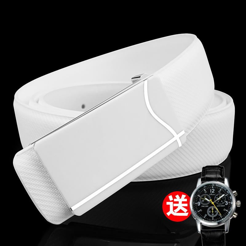 El cinturón de hebilla automática de suave cuero auténtico de puro cuero de Negocios de mediana edad - cinturón de caja
