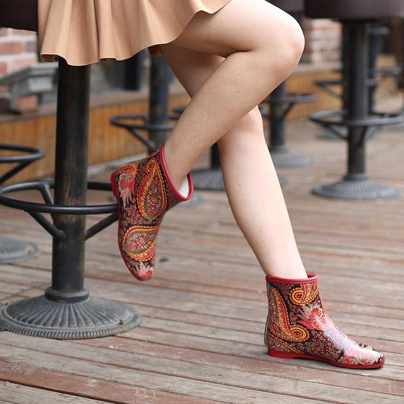 短筒时尚成人橡胶防滑雨鞋女 秋冬加棉保暖平跟雨靴韩版加绒水鞋