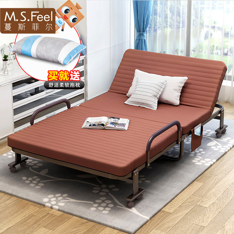 Folding bed, single bed, simple double bed, nap bed, wooden bed, children's bed, office lunch bed