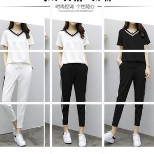 欧洲站2017夏季新款运动套装女时尚宽松短袖韩版小脚裤休闲两件套